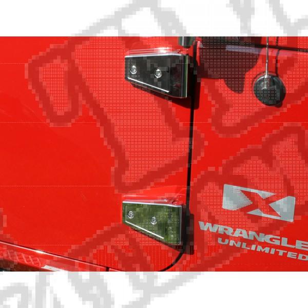Zestaw osłon zawiasów drzwi, stal nierdzewna, 07-15 Jeep Wrangler JK