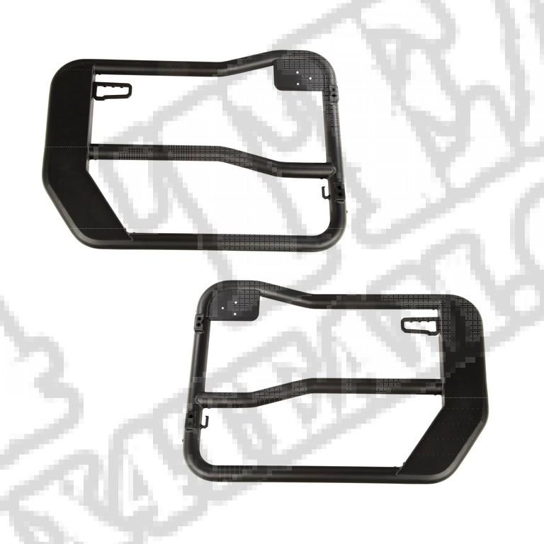 Przednie drzwi rurowe Fortis, czarna tekstura; 18-18 Jeep Wrangler JL/JLU
