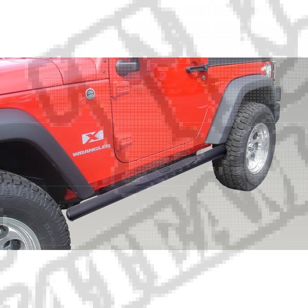 """Progi rurowe owalne boczne 3"""", czarne, 07-15 Jeep Wrangler JK"""