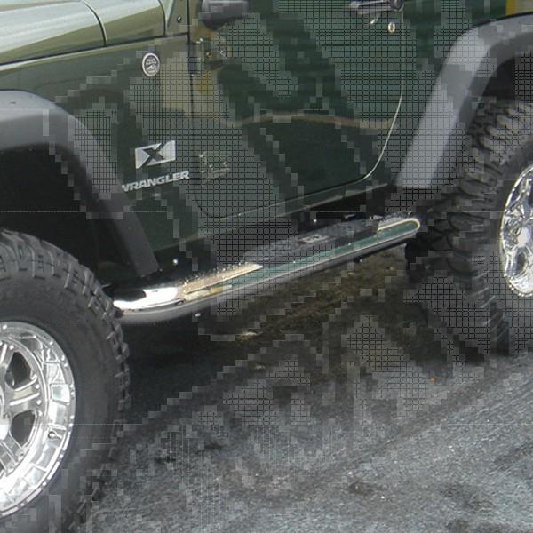 """Progi rurowe boczne 4"""", stal nierdzewna, 07-15 Jeep Wrangler JK 2 drzw"""