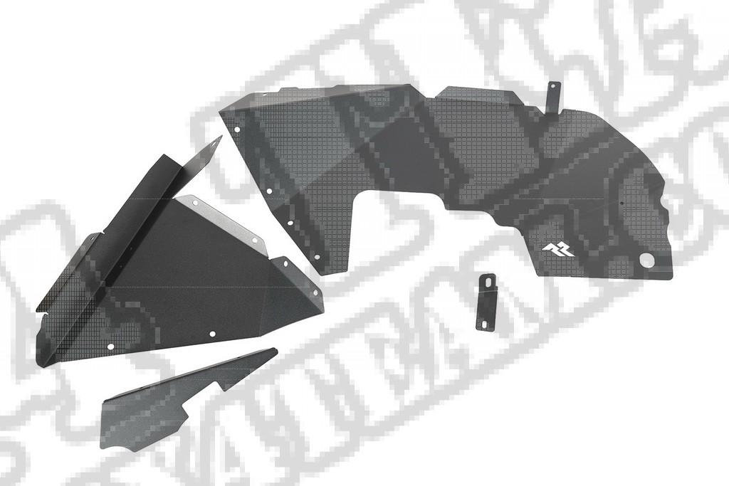 Wewnętrzne przednie nadkola aluminiowe, czarne; 18-19 Jeep Wrangler JL