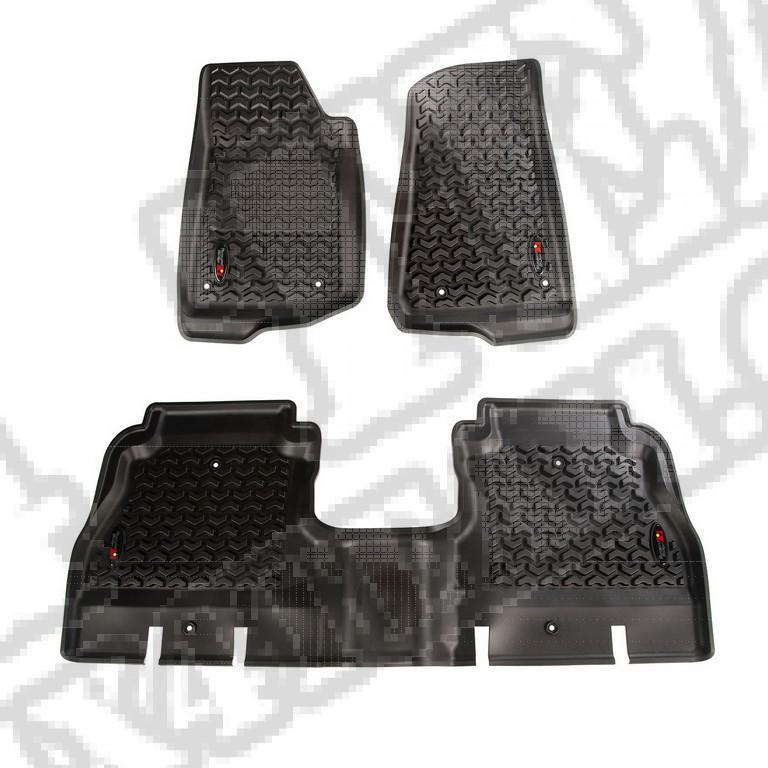 Zestaw przednich i tylnych dywaników, czarny; 18-18 Jeep Wrangler Unlimited JLU