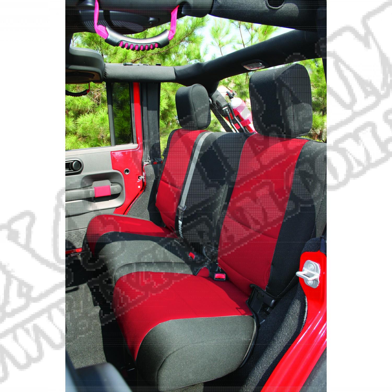 Pokrowiec tylnej kanapy czarno/czerwony 07-15 Jeep Wrangler Unlimited