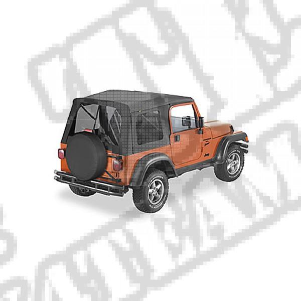 Plandeka ze stelażem Supertop przyciemniane oknaed Windows Czarny Denim 97-02 Jeep TJ Wrangler