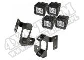 Mocowanie lampy, zestaw z kw. LED, półmat czarny, 07-15 Jeep Wrangler