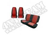 Zestaw pokrowców, czarny/czerwony; 80-90 Jeep CJ/Wrangler YJ