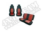Zestaw pokrowców, czarny/czerwony; 91-95 Jeep Wrangler YJ