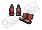 Zestaw pokrowców, czarny/czerwony; 97-02 Jeep Wrangler TJ