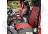 Zestaw pokrowców, czarny/czerwony; 07-10 Jeep Wrangler Unlimited JKU, 4 drzwiowy