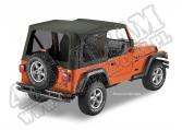 Plandeka LUXURY BLACK TWILL Jeep 97-06 Wrangler Except Unlimited; bez drzwi; przyciemniane tylne okna, Czarny